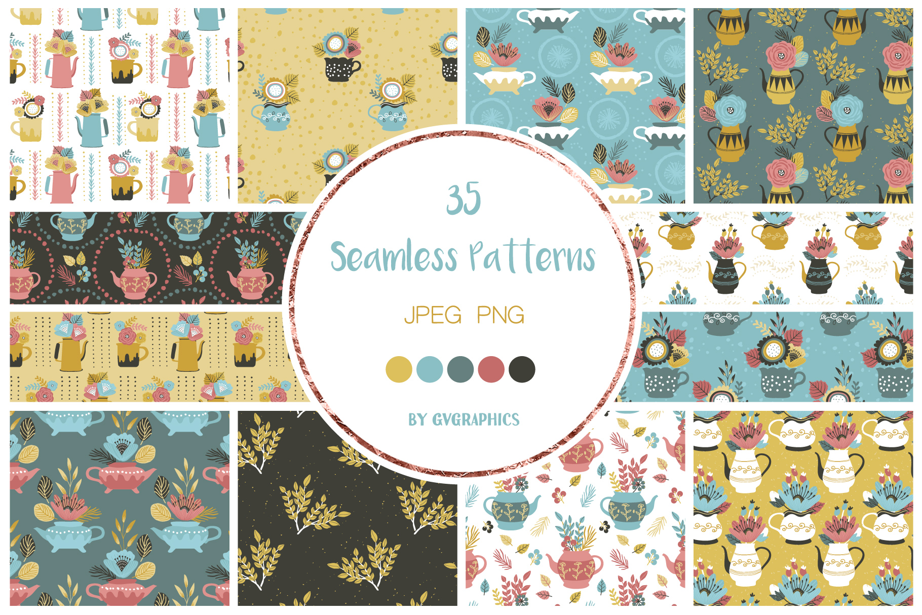 Preview Flowers and Teapots Seamless Patterns.