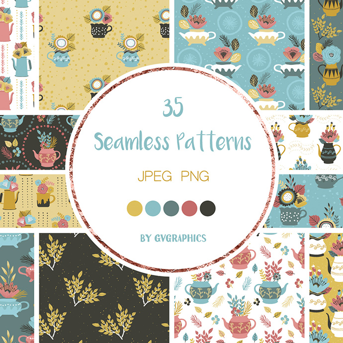 Preview Seamless Patterns Flowers Teapots