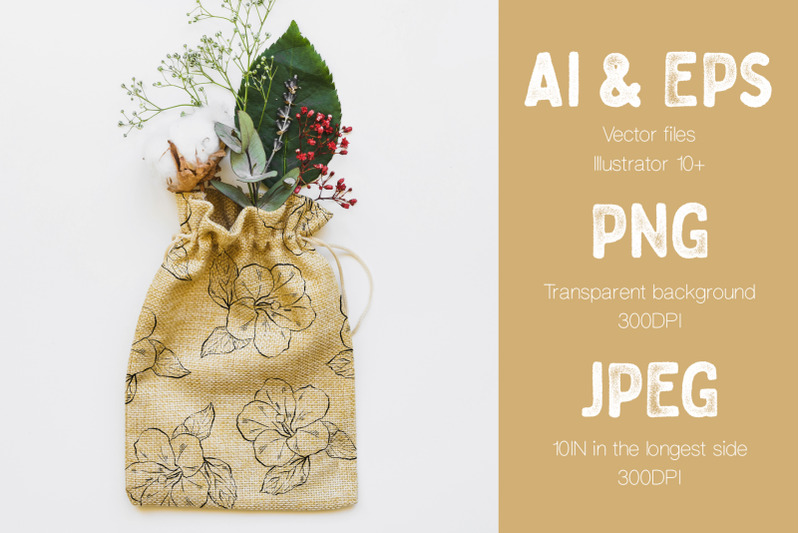 Rag Bag Made On The Hand Drawn Vector Flowers.