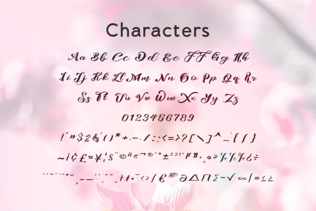 Characters Preview for Risalove script Free Font.