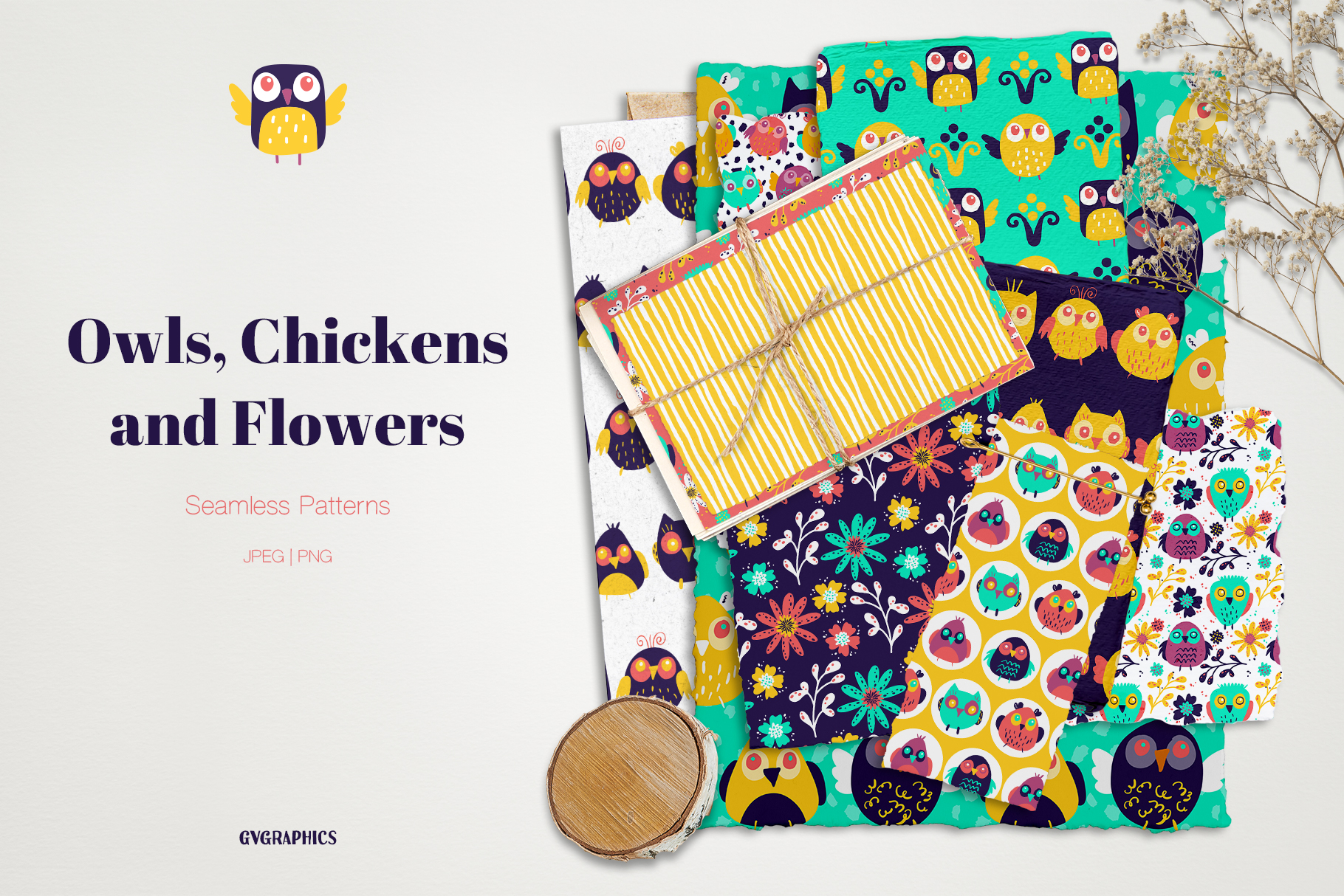 Seamless Patterns with Owls Chikend and Flowers.
