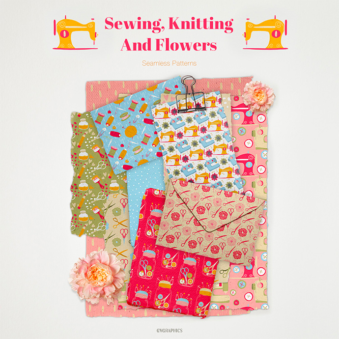 Sewing Knitting and Flowers Seamless Patterns Preview
