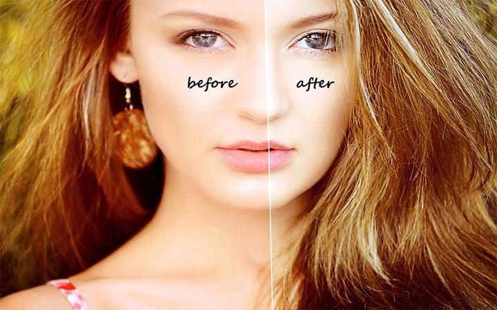 Skin Retouching Photoshop Action Before After On The Face Picture.