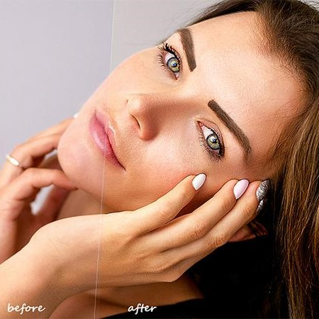 Skin Retouching Photoshop Action Before After On The Womans Face.