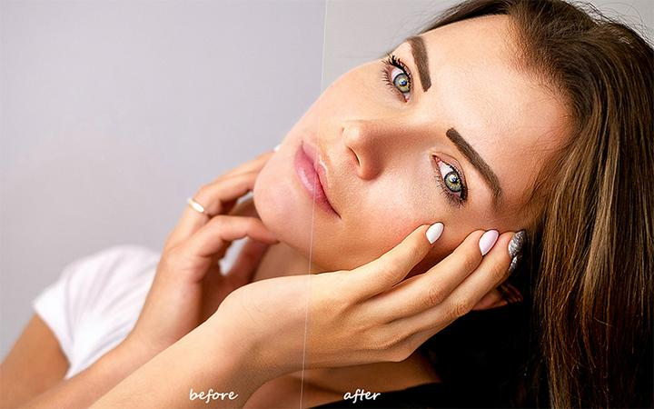 Skin Retouching Photoshop Action Before After On The Womans Face