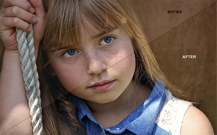 Skin Retouching Photoshop Before After Effect On Little Girl Photo.