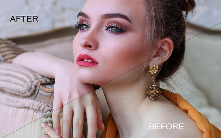 Skin Retouching Before After Effect On The Fase Picture.