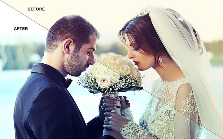 Skin Retouching Photoshop Before After Effect On The Wedding Photo.