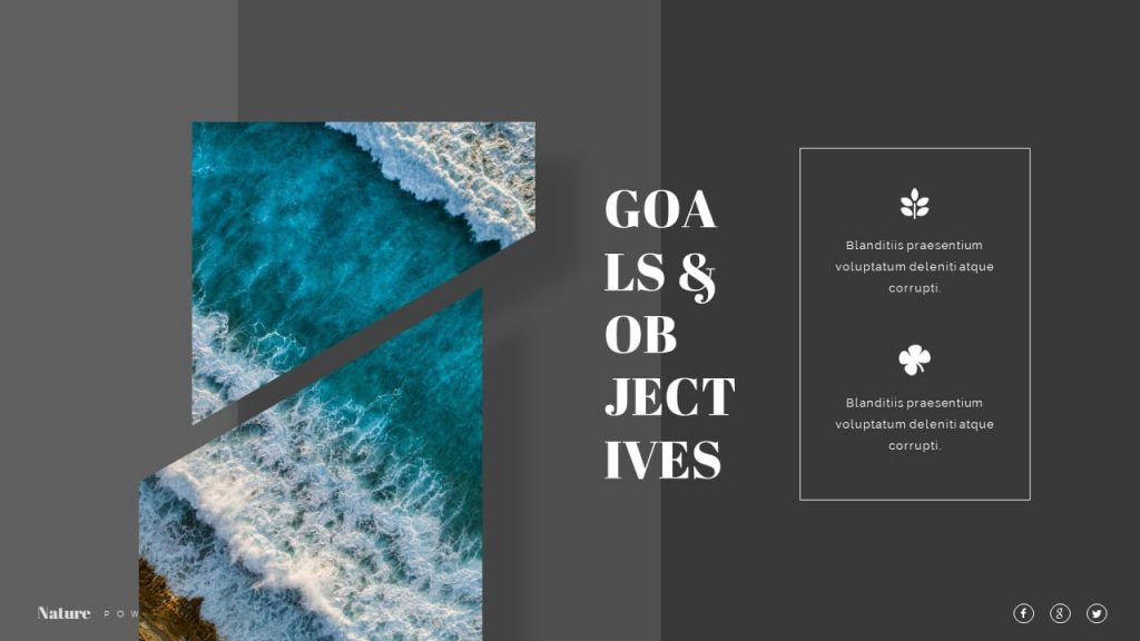 Slide about Goals and objectives Nature Presentation Template.