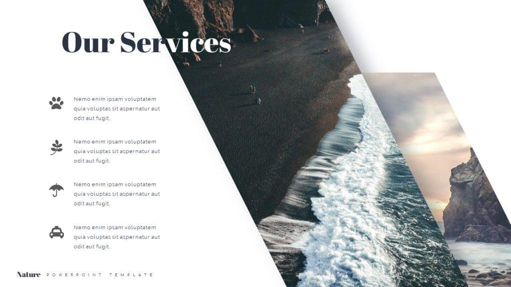 Slide Our service. Nature Presentation Template.