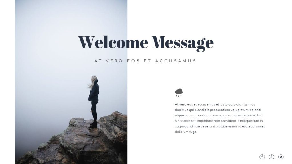 Welcome message from Nature Presentation Template.