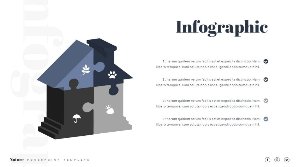 House-shaped infographics Nature Presentation Template.