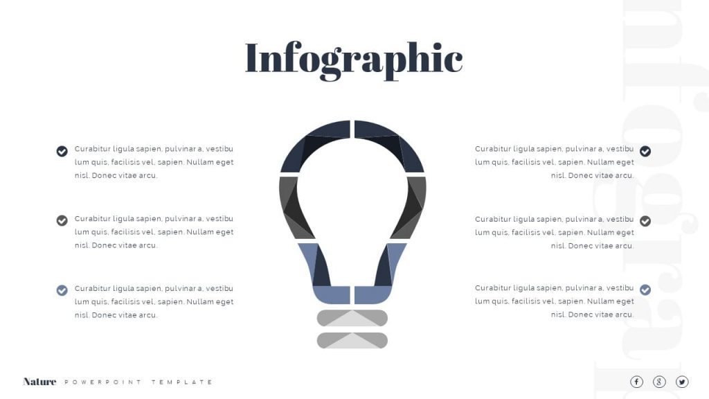 Infographics in the form of a light bulb Nature Presentation Template.