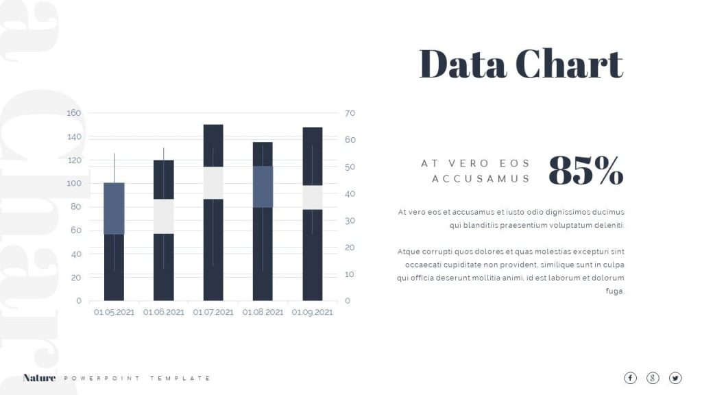 Data chart by periods Nature Presentation Template.