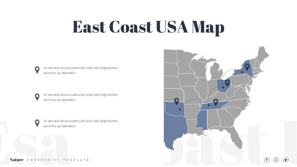 Map of the US East Coast Nature Presentation Template.