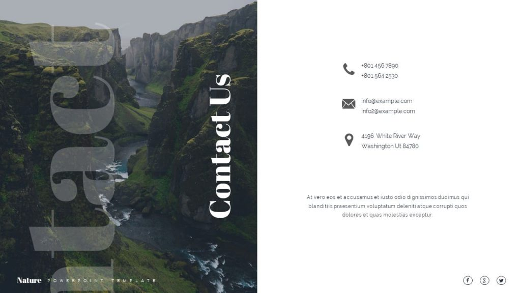 A place for contacts Nature Presentation Template.
