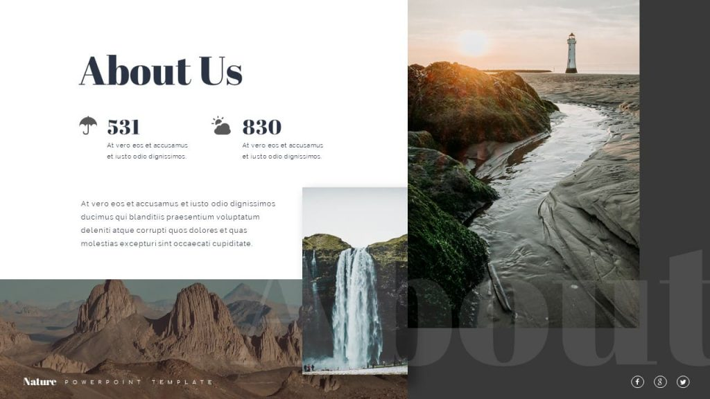 Slide About Us Nature Presentation Template.