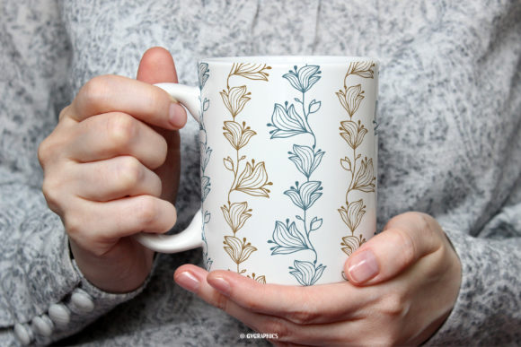 Tea Cup Made On The Delicate Flowers Botanical Patterns.