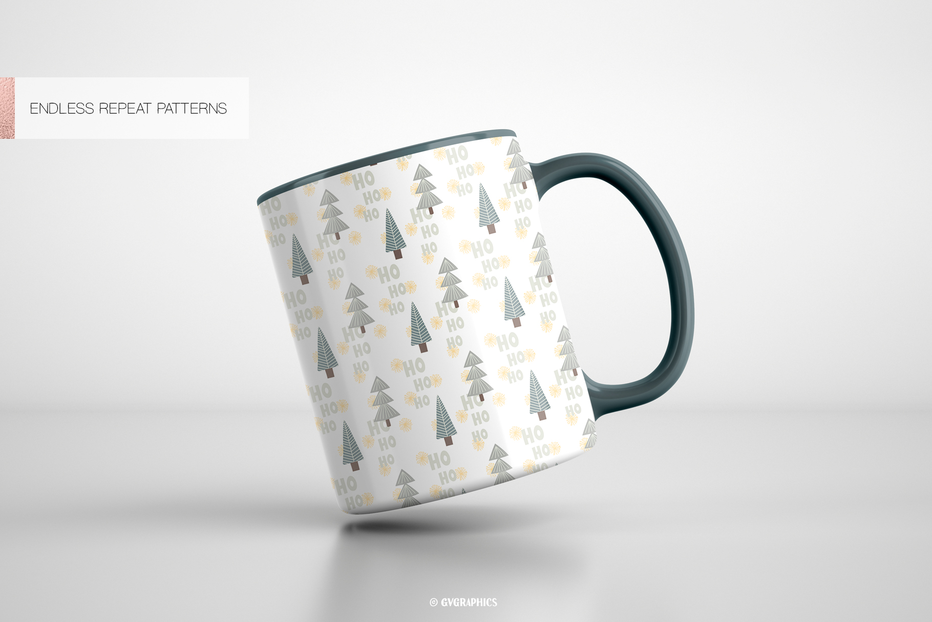 Tea Cups Made On The Basis Christmas Seamless Patterns.