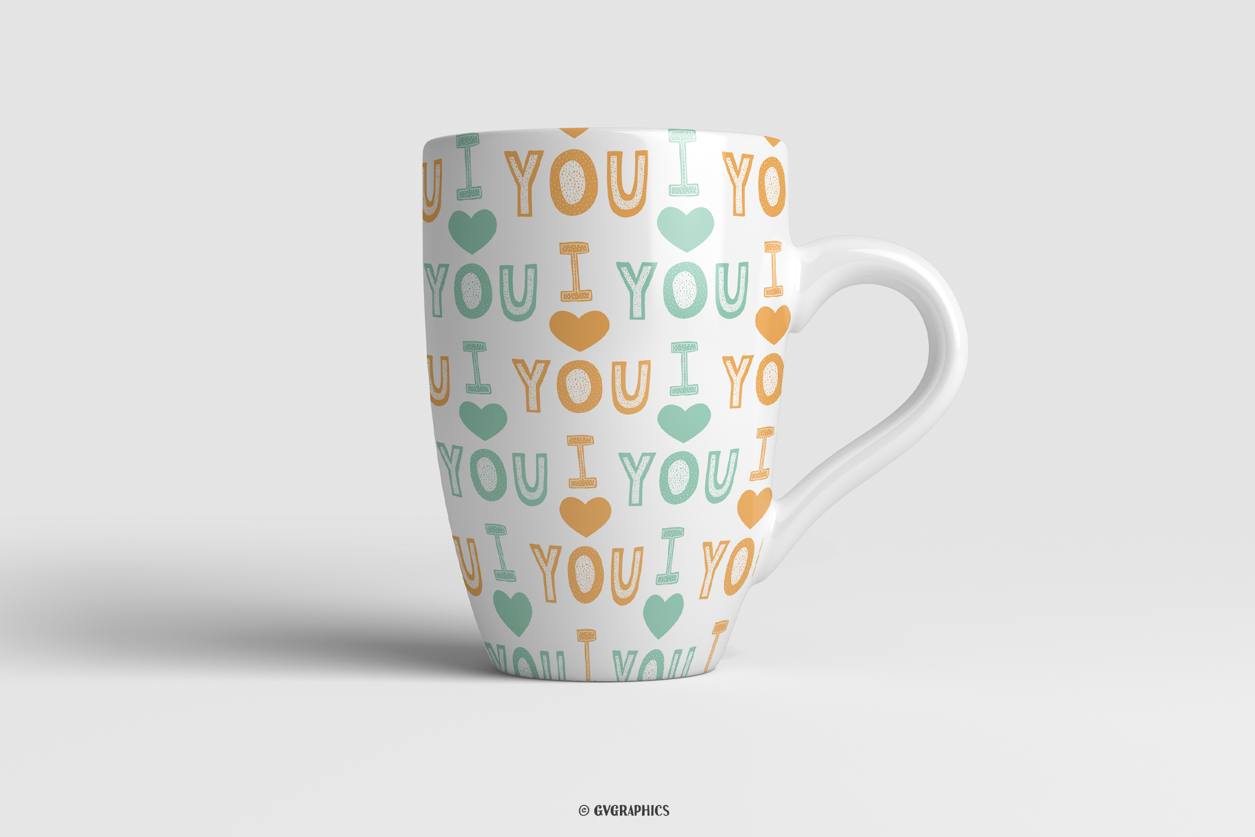 Tea Cups Made On The Basis Love Seamless Patterns.