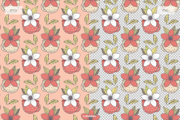 Teapots Teacups and Flowers Patterns JPG and PNG Example.
