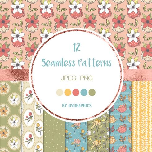 Teapots Teacups and Flowers Patterns Preview.
