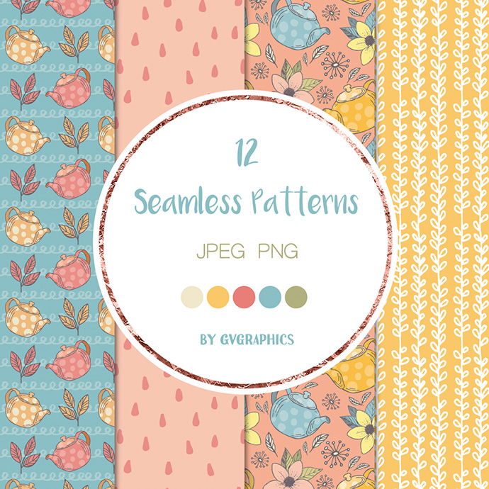 Teapots and Teacups and Flowers Patterns Preview.