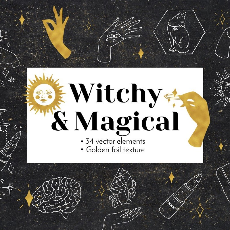 Witchy Magical Mystic Line Art Vector Illustration Preview.