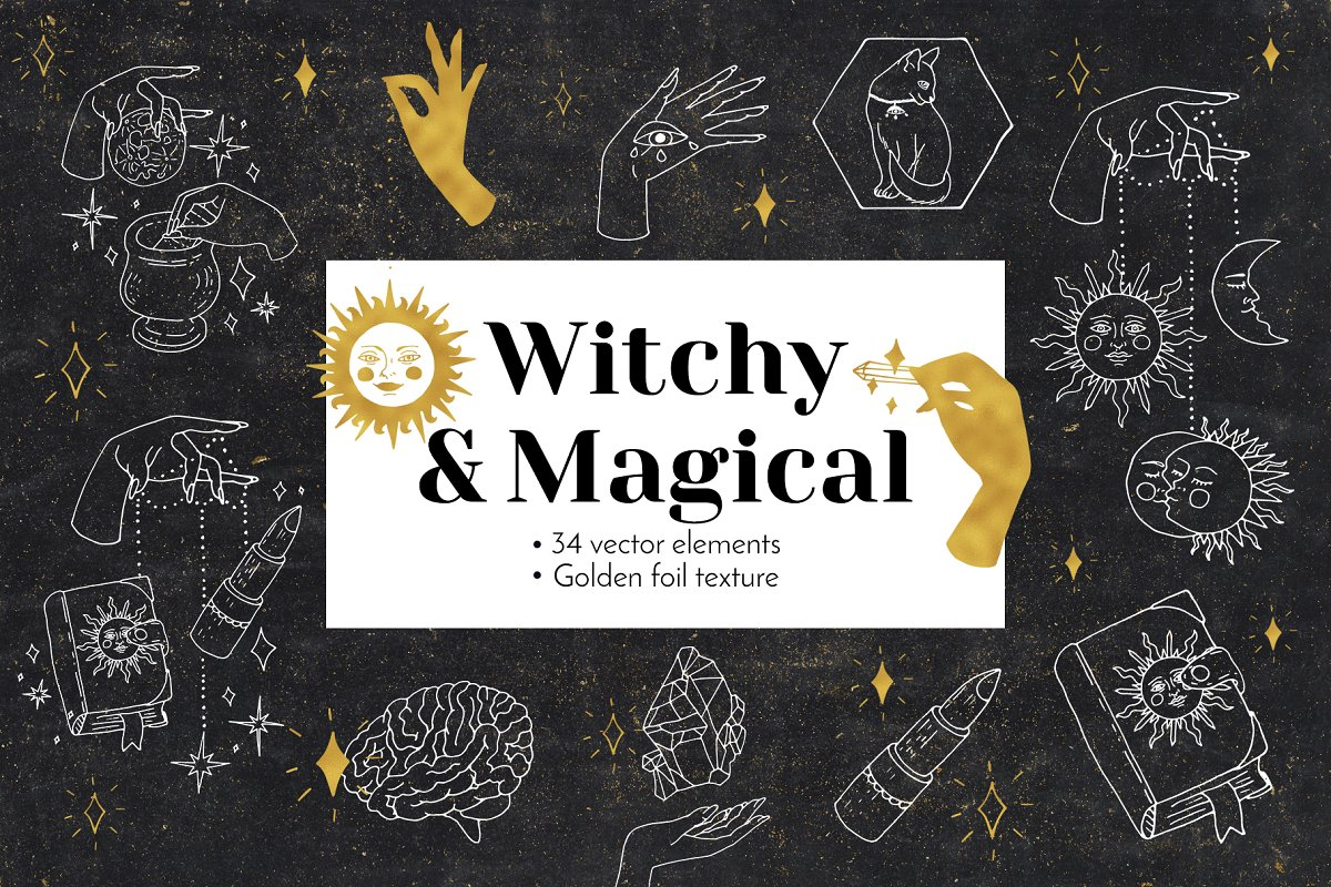 Witchy Magical Mystic Line Art Vector Ilustration.