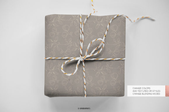 Wrap Gift Made On The Delicate Flowers Botanical Patterns.