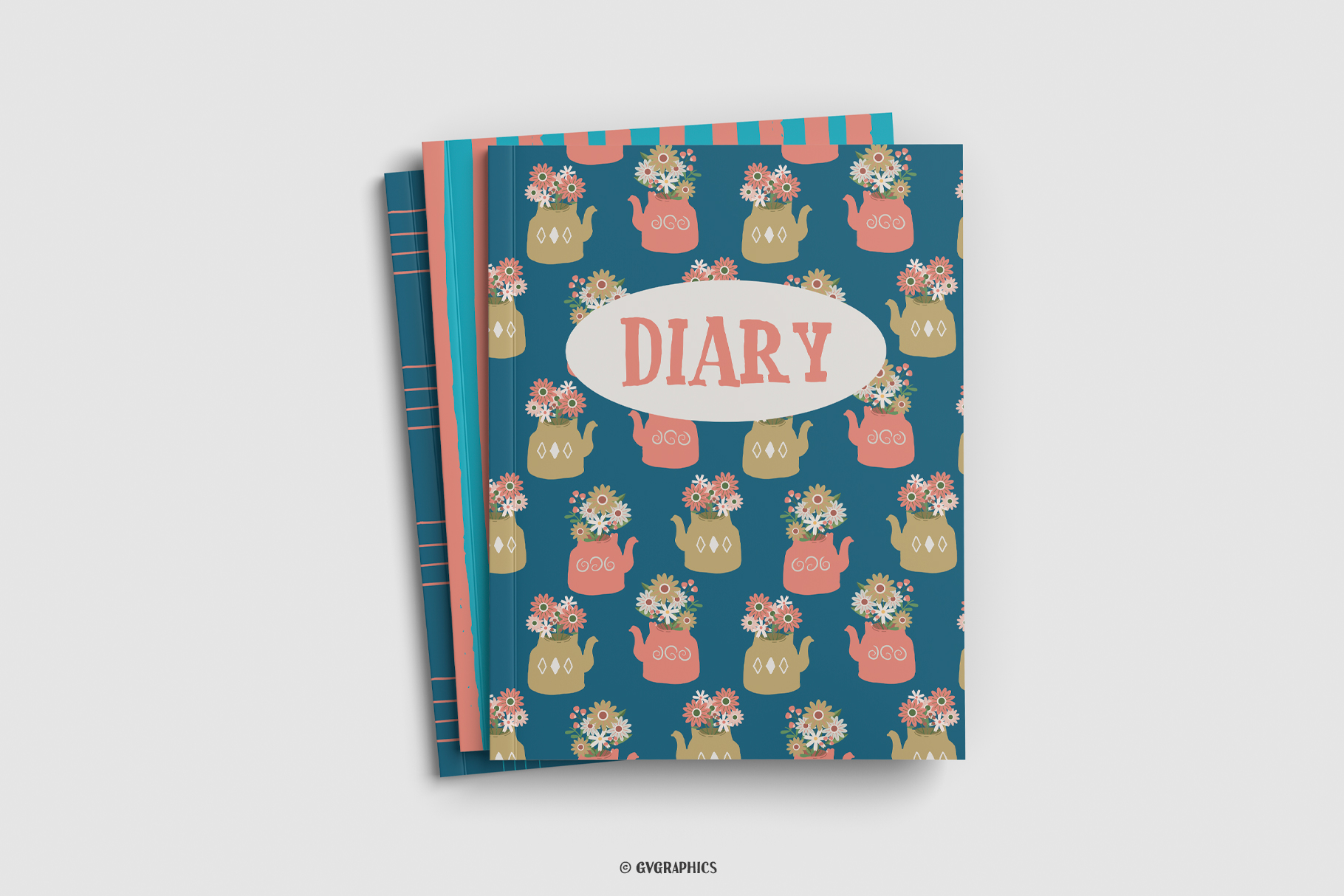 Wrap of Diary Mabe On The Flowers and Teapots Seamless Patterns.