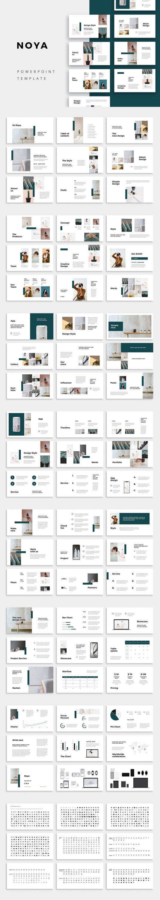 Preview of all slides NOYA - Powerpoint Template.