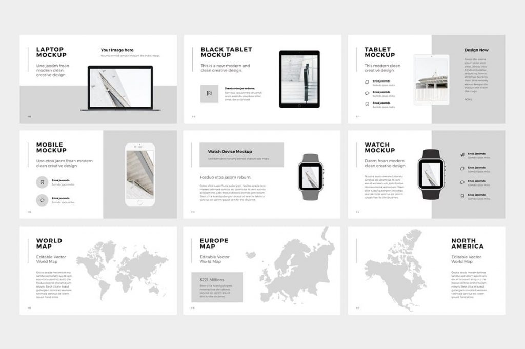 Slides with mockups NORS Powerpoint Template.