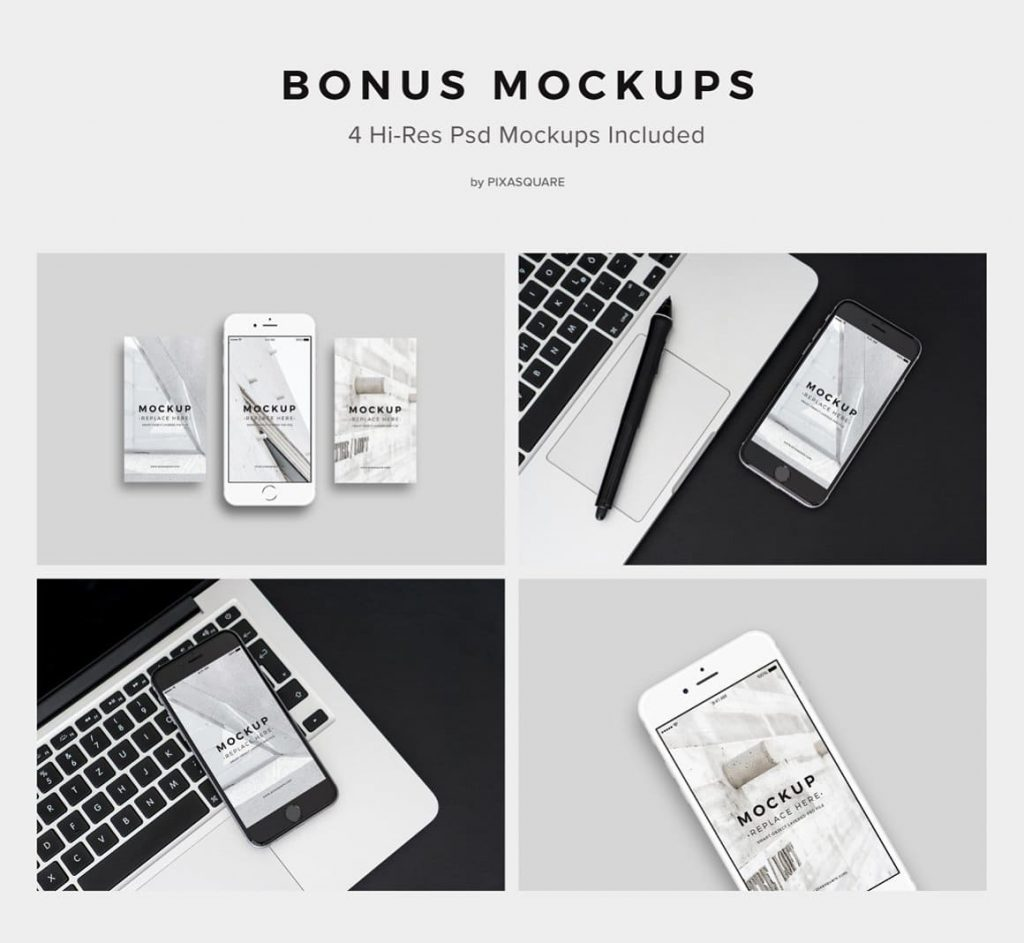 4 Psd Mockups in high res NORS Powerpoint Template.