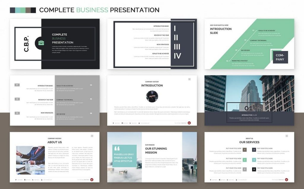 200 Unique and Creative slides Complete Business Powerpoint Template.