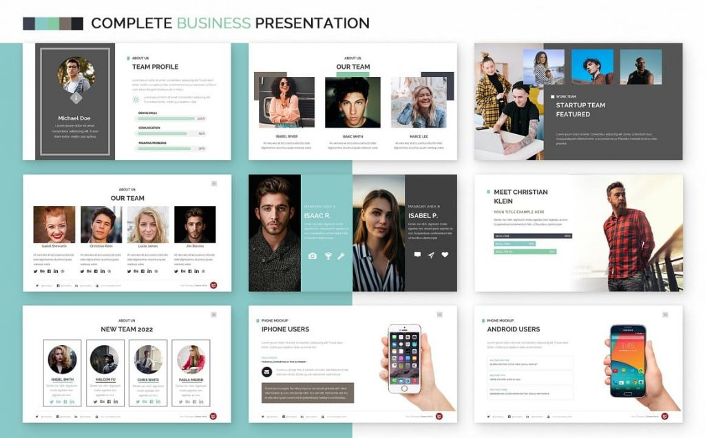 Slides Our Team Complete Business Powerpoint Template.