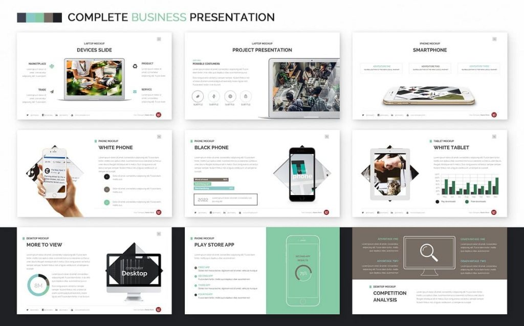Mockup slides Complete Business Powerpoint Template command.