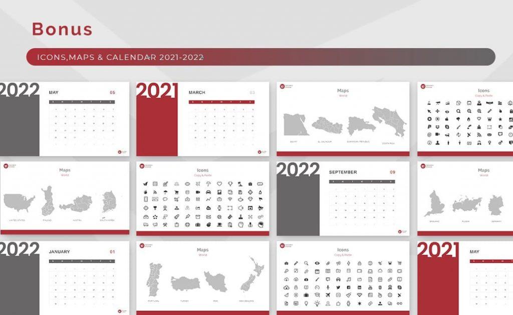 Bonus: Vector Icons, Maps, Calendar Ginger Powerpoint Presentation Template.