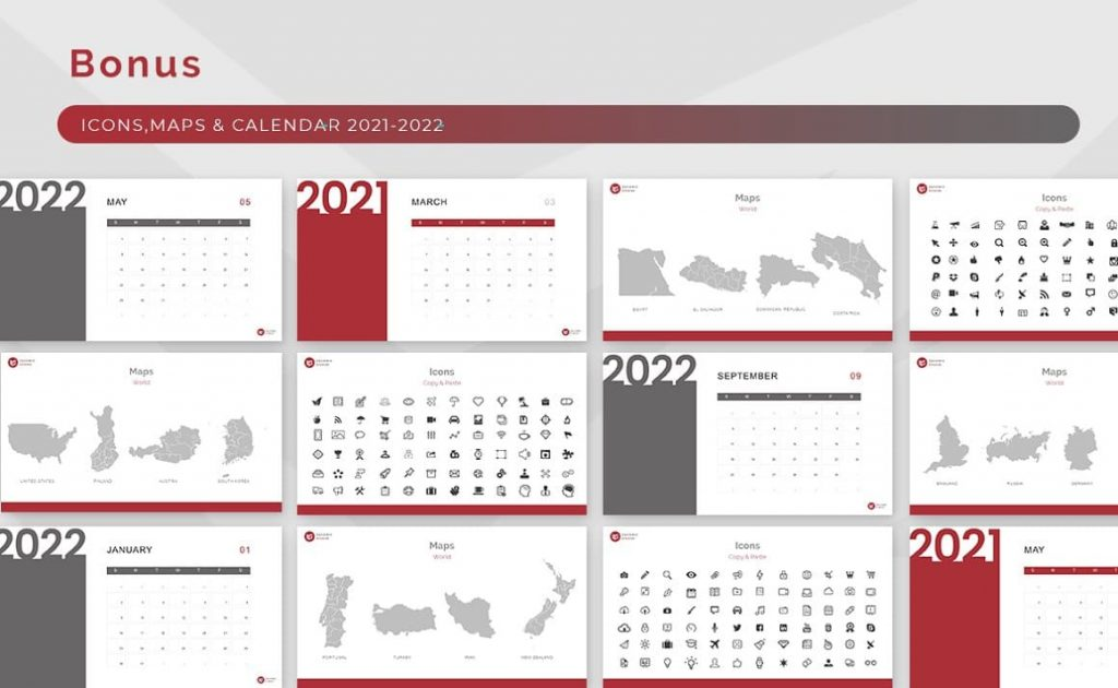 Vector Icons, Maps, Calendar Block Powerpoint Presentation Template.