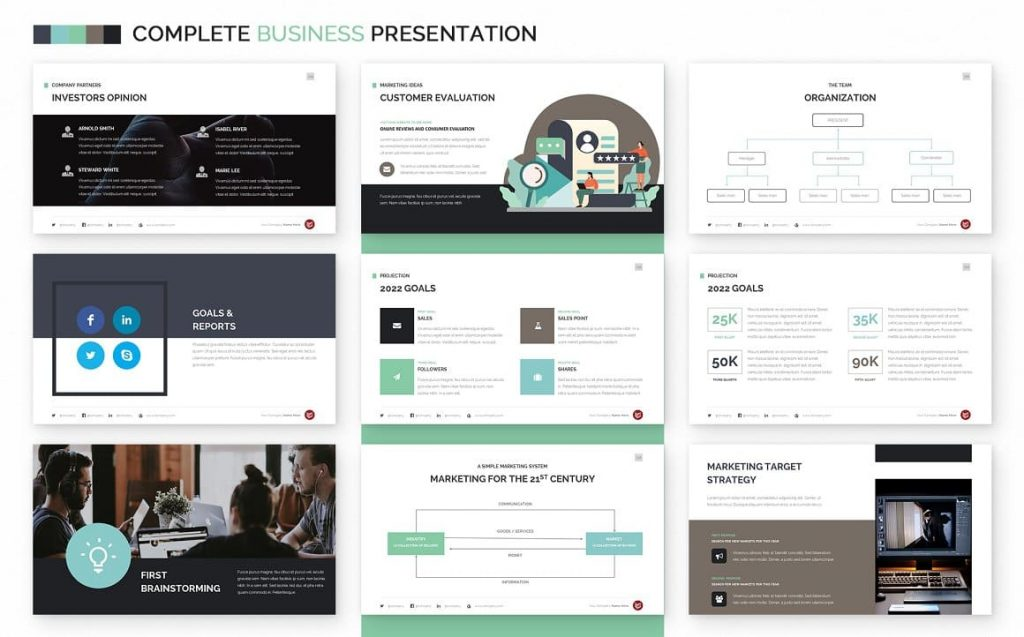 Goals Slide Complete Business Powerpoint Template.