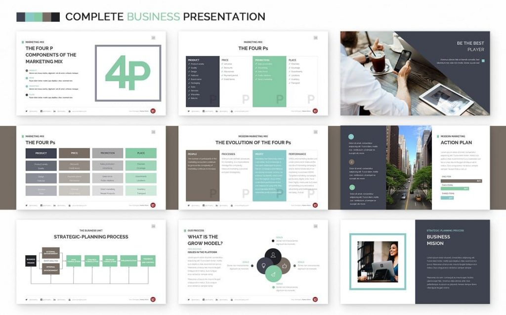 The 4 Ps Slides Complete Business Powerpoint Template.