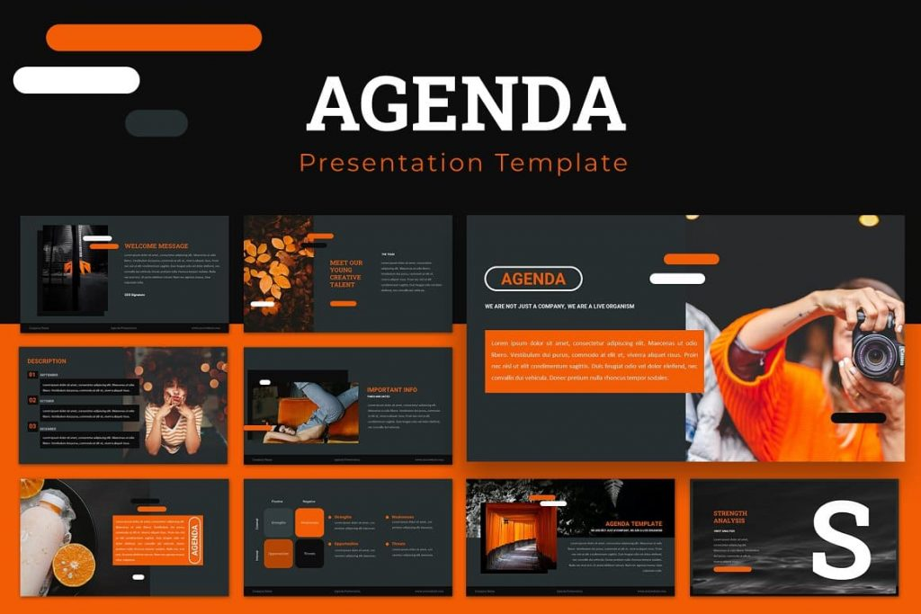 Cover for Agenda Powerpoint Presentation.
