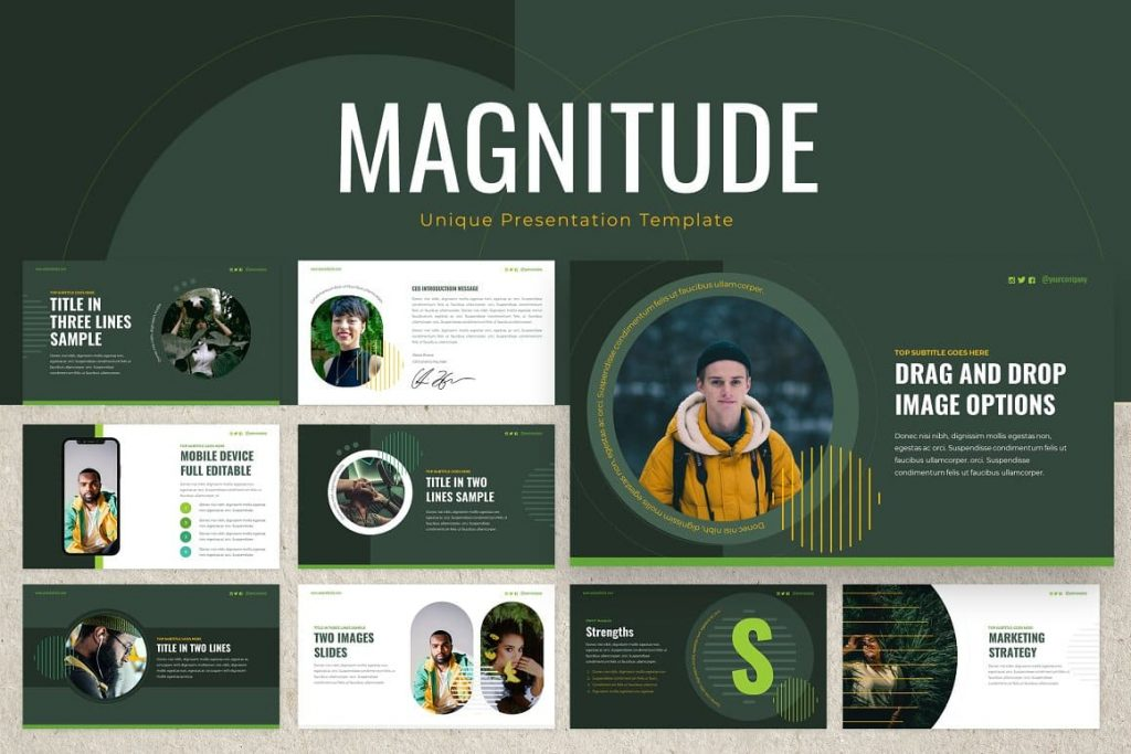 Cover for Magnitude Powerpoint Presentation Template.