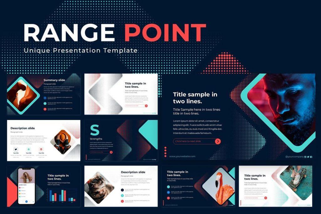 Unique Range Point Powerpoint Presentation Template.
