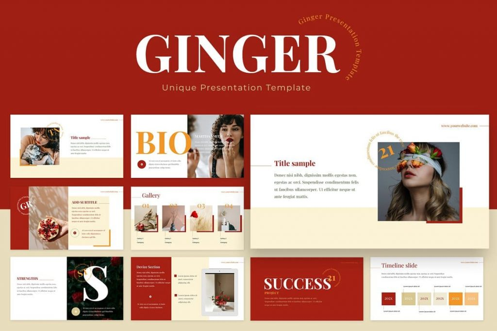 Cover for Ginger Powerpoint Presentation Template.