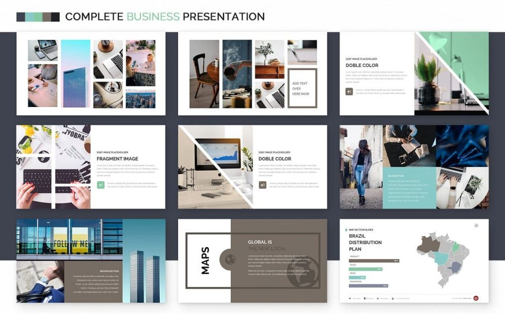 Slide Map Complete Business Powerpoint Template.