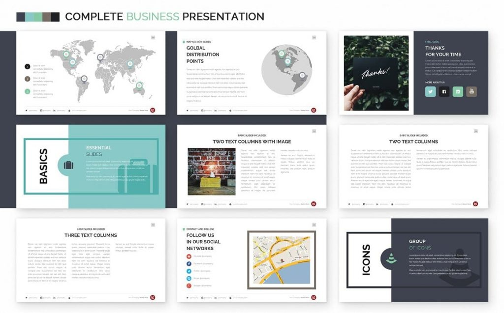 Slides Contacts Complete Business Powerpoint Template.