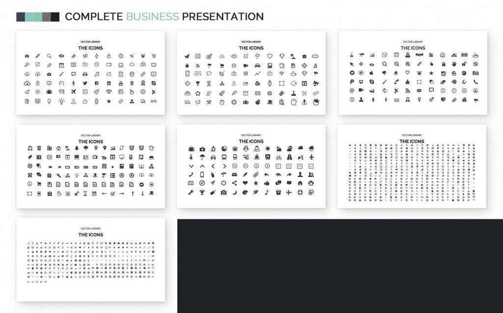 Vector Icons Complete Business Powerpoint Template.