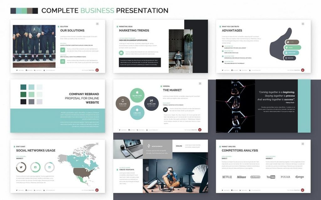 Free Fonts & Icons Complete Business Powerpoint Template.
