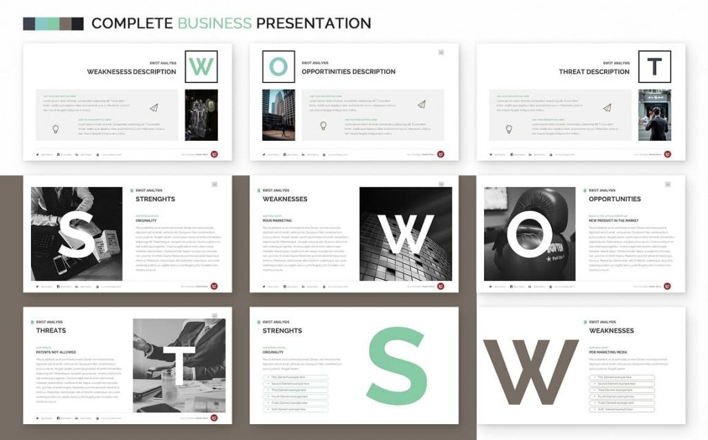 SWOT Analysis Complete Business Powerpoint Template.